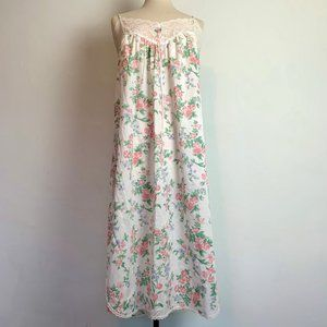 VTG Delicate Floral and Lace Nightgown Slip